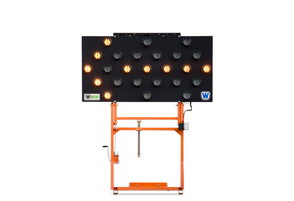Keep your work zone safe with Arrow Boards from Action. Folding Frame Arrow Board Skids are full-size arrow boards on a frame that pivots the display panel up to the vertical position when deployed, and down to horizontal for transport.