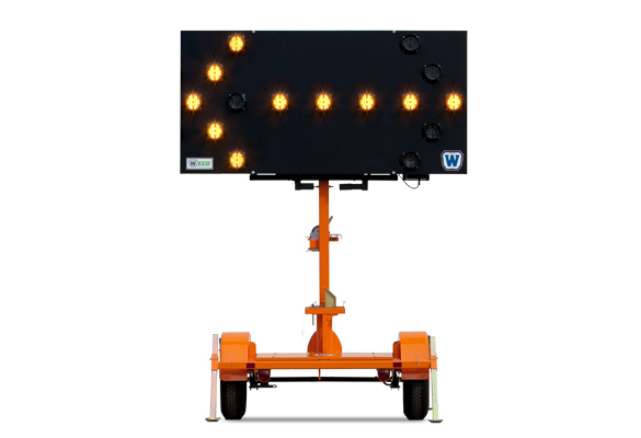 Keep your work zone safe with traffic safety products Arrow Boards from Action. W|ECO Vertical-Mast Arrow Boards feature a display panel that remains vertical at all times and rotates to face traffic.