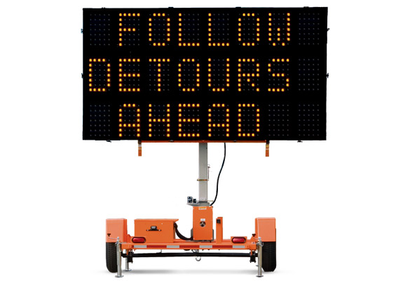 Keep your work zone safe with Arrow Boards from Action. The Wanco Three-Line Message Sign is capable of displaying three rows of alphanumeric characters.