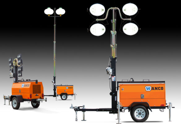 Temporary Construction Lighting 7-12 Height 180W Work Area LED Light Tower Quadpod Mount
